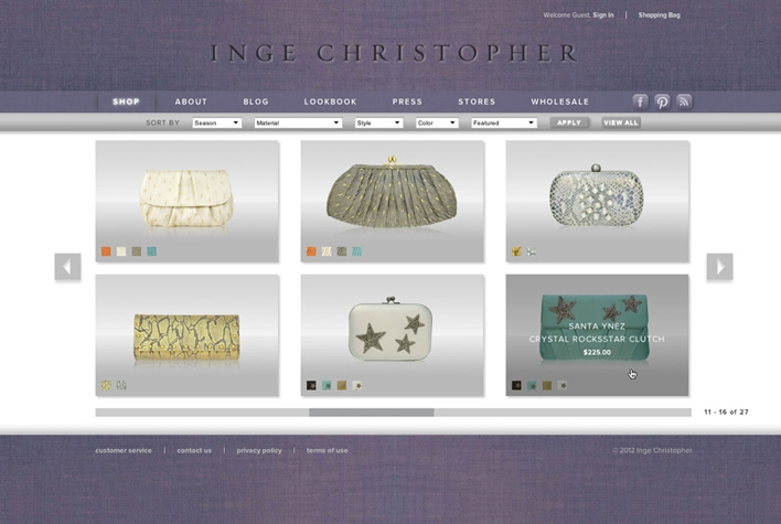Inge Christopher Shop Page